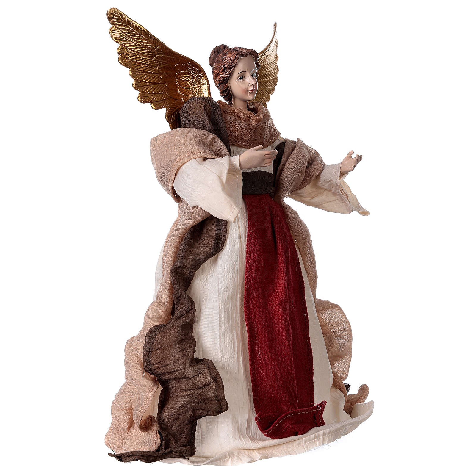Angel in resin and burgundy fabric 28.5 cm 3