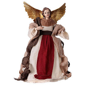 Angel in resin and burgundy fabric 28.5 cm s1
