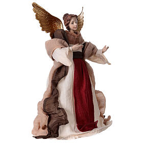 Angel in resin and burgundy fabric 28.5 cm s3