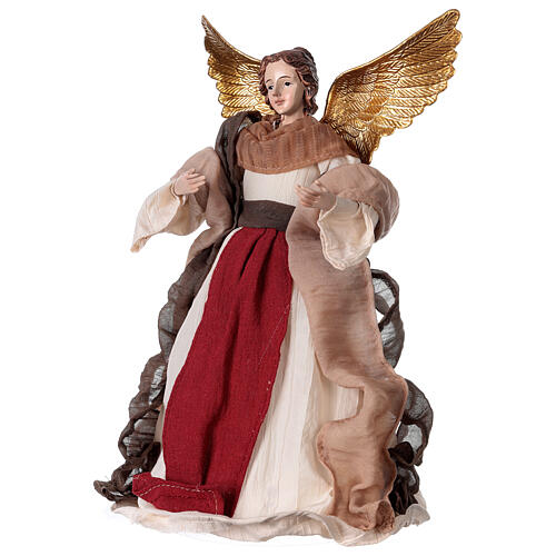 Angel in resin and burgundy fabric 28.5 cm 2