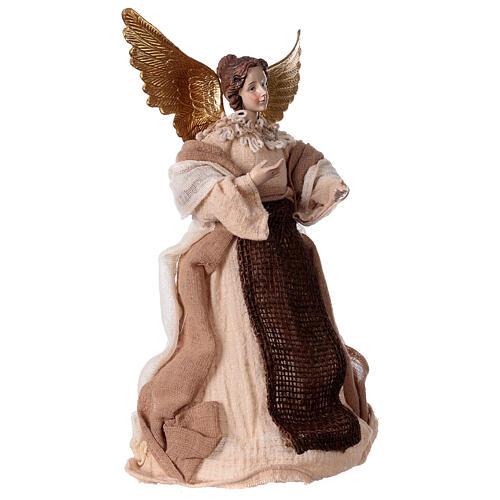 Angelo color crema in resina e tessuto 30 cm 3