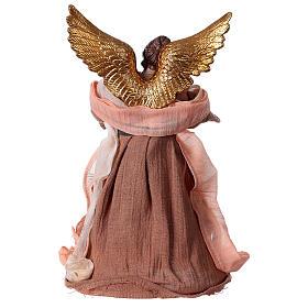 Angelo 30 cm resina e tessuto rosa beige s4