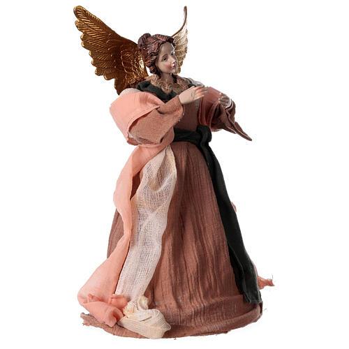 Angelo 30 cm resina e tessuto rosa beige 3
