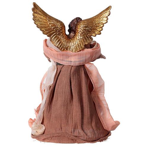 Angelo 30 cm resina e tessuto rosa beige 4