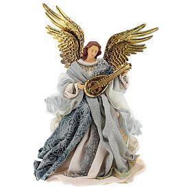 Angelo puntale 45 cm resina blu argento stile veneziano s1