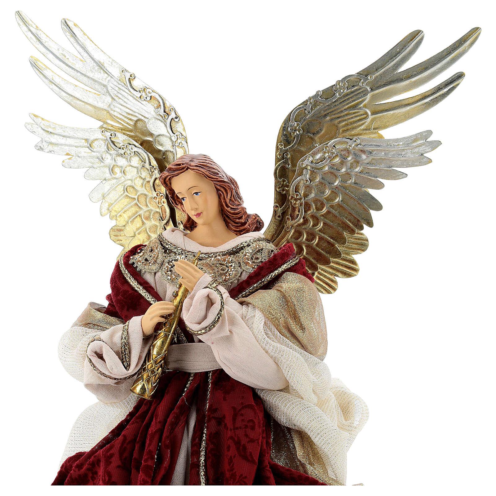 Angelo puntale flauto 45 cm resina stoffa rosso oro stile veneziano 3