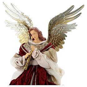 Angelo puntale flauto 45 cm resina stoffa rosso oro stile veneziano s2
