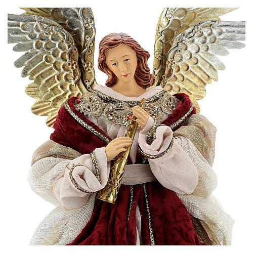 Angelo puntale flauto 45 cm resina stoffa rosso oro stile veneziano 4