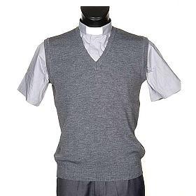 Gilet collo V grigio chiaro maglia unita s1