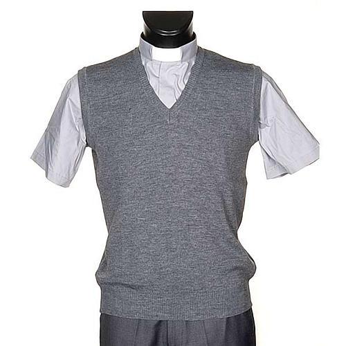 Gilet collo V grigio chiaro maglia unita 1