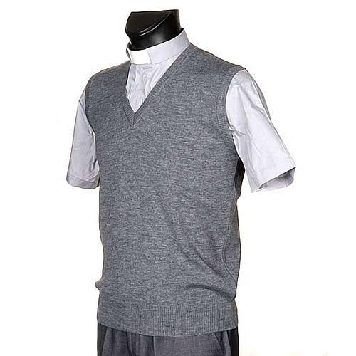 Gilet collo V grigio chiaro maglia unita 2