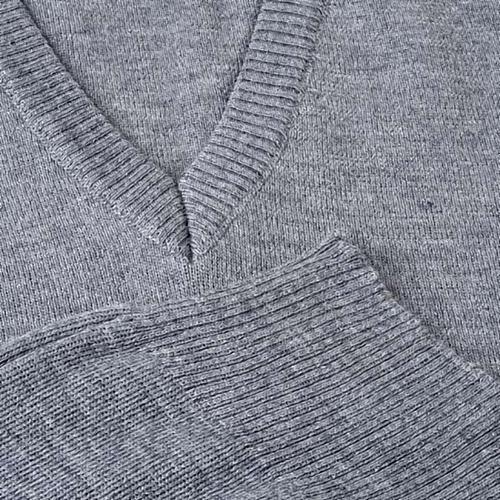 Gilet collo V grigio chiaro maglia unita 3