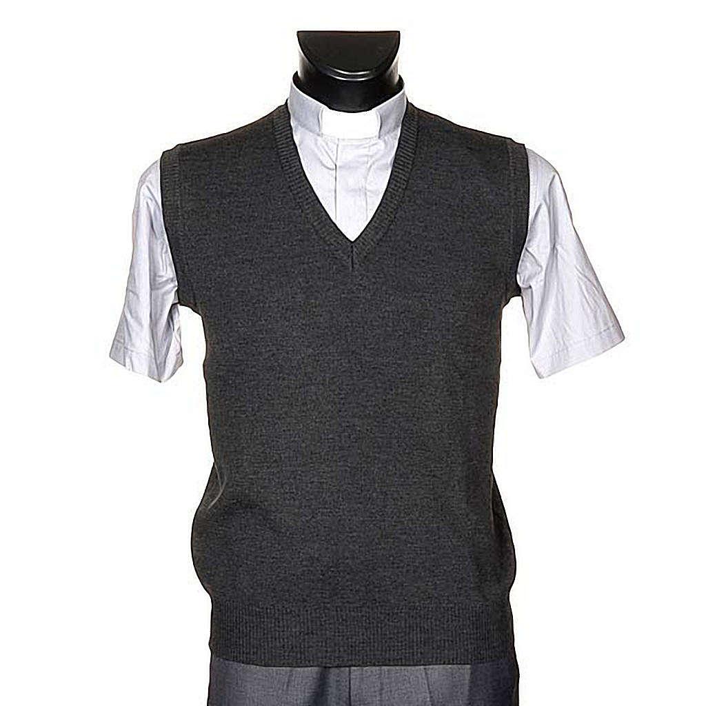 Gilet collo V grigio scuro maglia unita 4