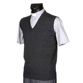 Gilet collo V grigio scuro maglia unita s2