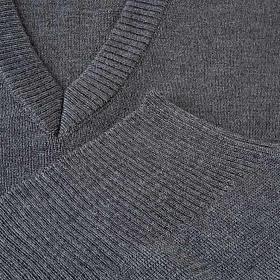 Gilet collo V grigio scuro maglia unita s3