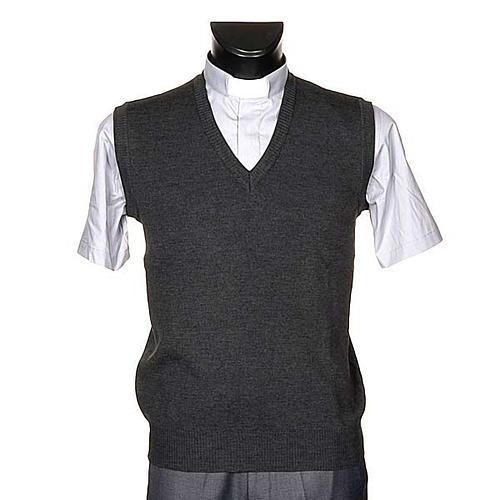 Gilet collo V grigio scuro maglia unita 1