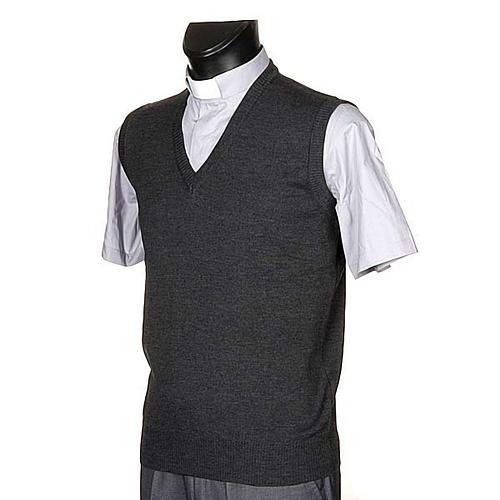 Gilet collo V grigio scuro maglia unita 2
