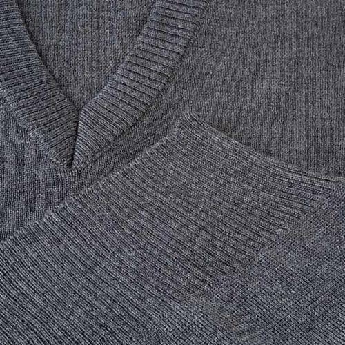 Gilet collo V grigio scuro maglia unita 3