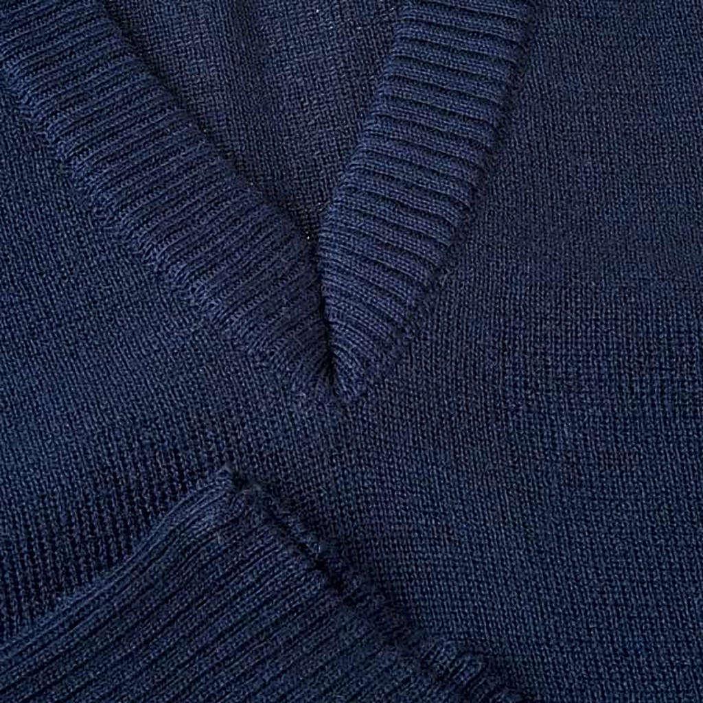 STOCK Gilet collo V blu maglia unita 4