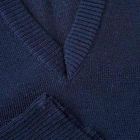 STOCK Gilet collo V blu maglia unita s3