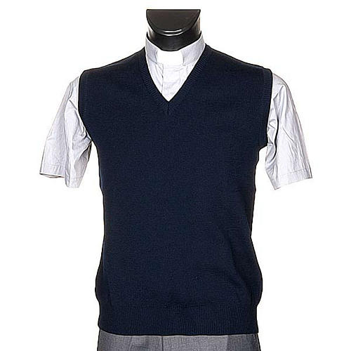 STOCK Gilet collo V blu maglia unita 1