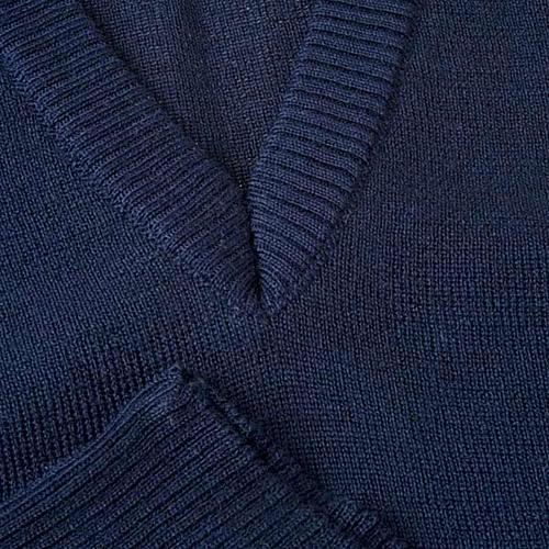 STOCK Gilet collo V blu maglia unita 3