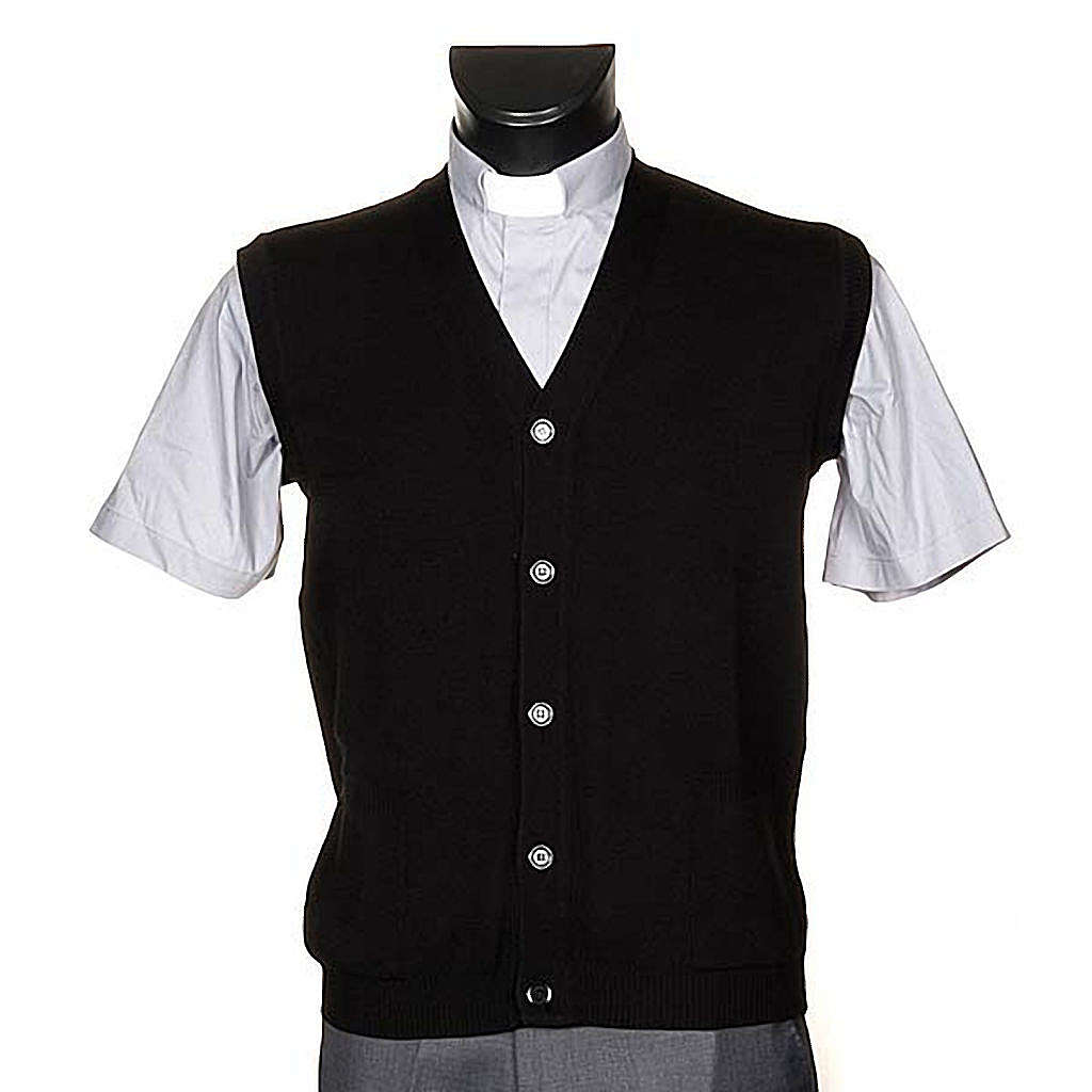 Black waiscoat with buttons and pockets 4