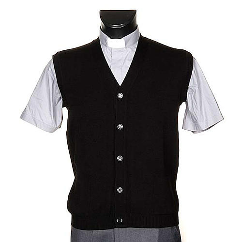 Black waiscoat with buttons and pockets 1