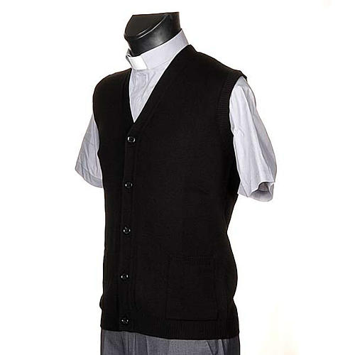 Black waiscoat with buttons and pockets 2