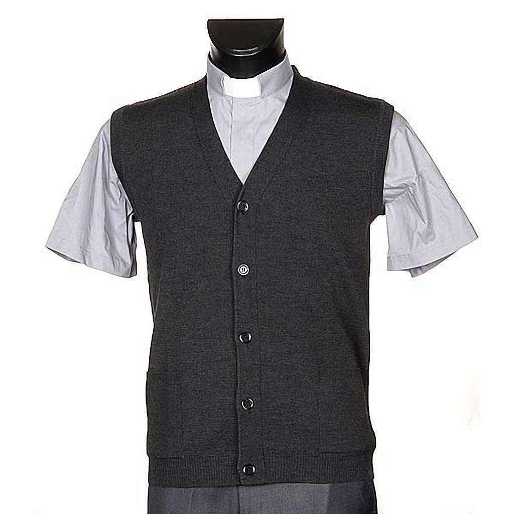 Dark grey waistcoat with buttons and pockets 4