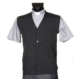 Dark grey waistcoat with buttons and pockets s1