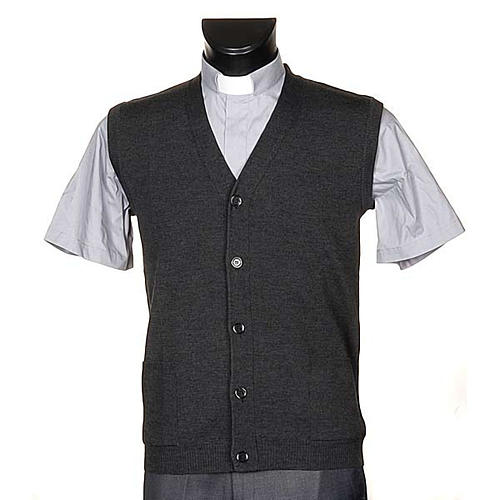 Dark grey waistcoat with buttons and pockets 1