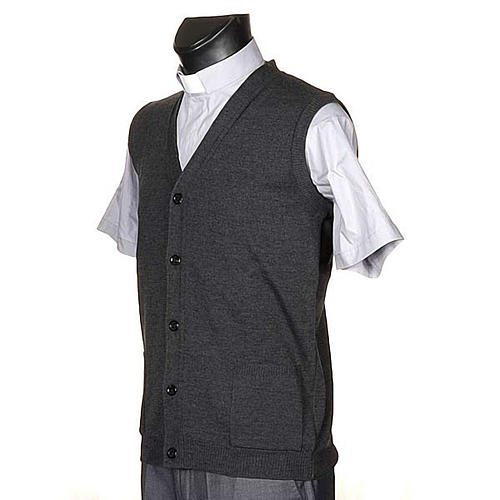 Dark grey waistcoat with buttons and pockets 2