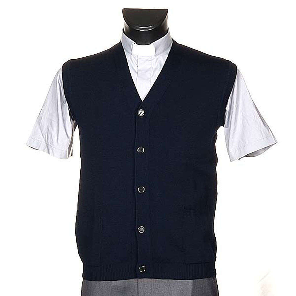 STOCK Blue waistcoat with buttons and pockets 4