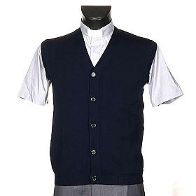 STOCK Blue waistcoat with buttons and pockets s1