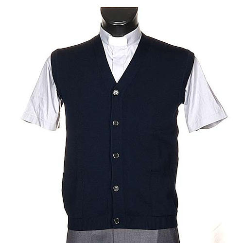 STOCK Blue waistcoat with buttons and pockets 1