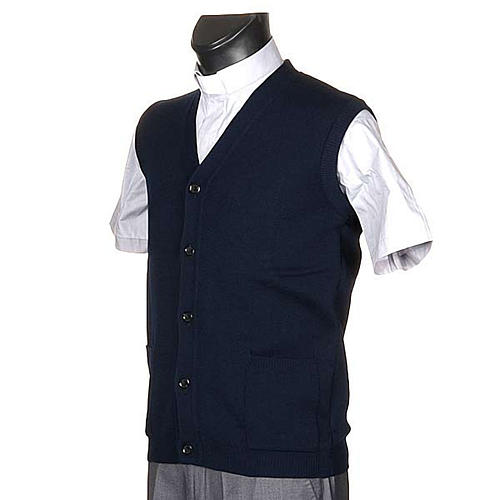 Blue waistcoat with buttons and pockets 2