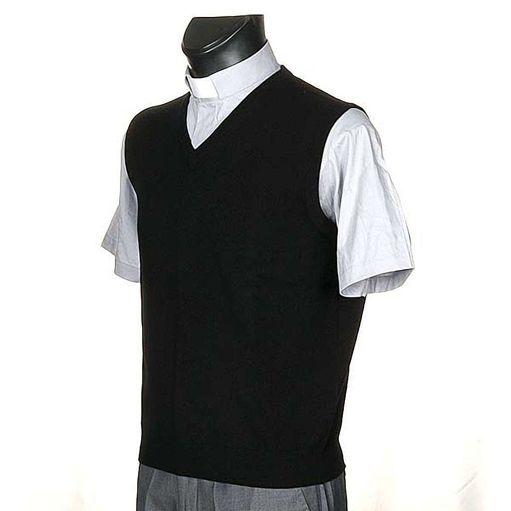 STOCK Gilet cachemire 100% nero collo V 4