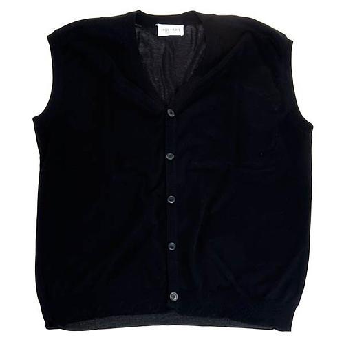 Geöffnete Weste mit Täschchen schwarz 100% Baumwolle 1