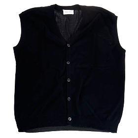 Open sleeveless cardigan, 100% black cotton s1
