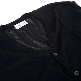 Open sleeveless cardigan, 100% black cotton s3