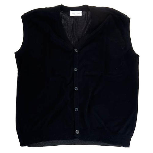 Open sleeveless cardigan, 100% black cotton 1