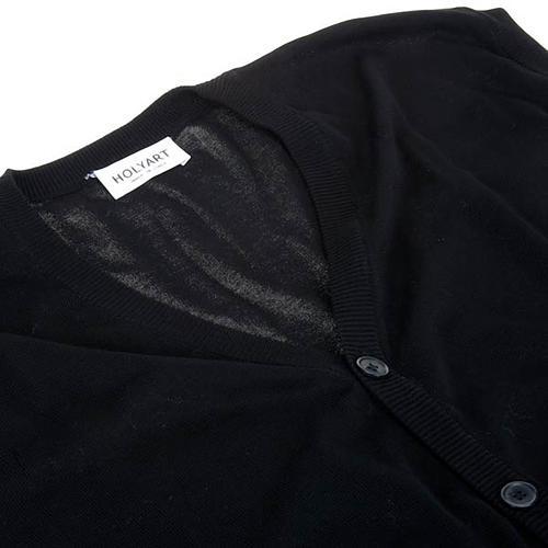 Open sleeveless cardigan, 100% black cotton 3