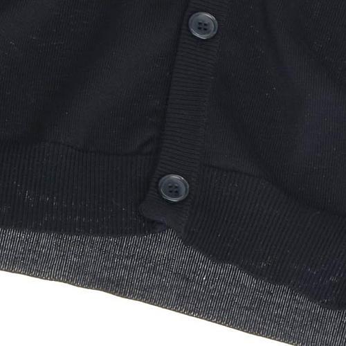 Open sleeveless cardigan, 100% black cotton 4