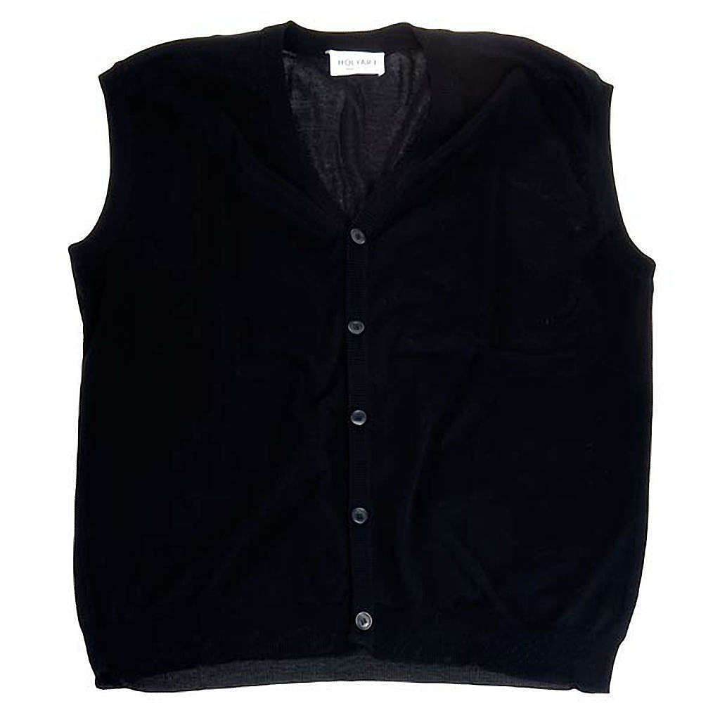 Open sleeveless cardigan, 100% black cotton 4