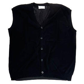 Open sleeveless cardigan, 100% black cotton s1