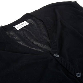 Open sleeveless cardigan, 100% black cotton s3