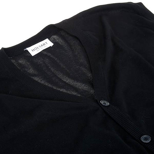 Open sleeveless cardigan, 100% black cotton 3
