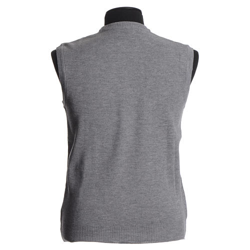 STOCK Crew-neck sleeveless cardigan, pale grey 2