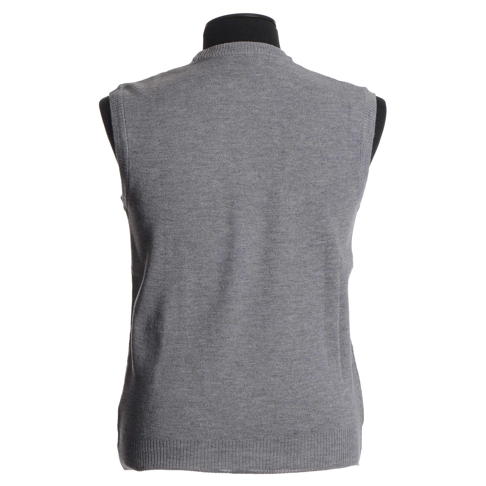 Crew-neck sleeveless cardigan, pale grey 4